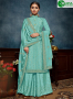 Blue Color Chinon Fabric Embroidered Sequance Hand Work Designer Palazzo Suit