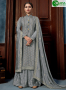 Grey Color Chinon Fabric Embroidered Sequance Hand Work Designer Palazzo Suit
