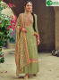 Green Color Faux Georgette Fabric Embroidered Resham Work Designer Palazzo Suit