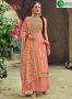 Peach Color Faux Georgette Fabric Embroidered Resham Work Designer Palazzo Suit