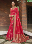 Red Color Silk Fabric Weaving Work Designer Party Wear Saree
