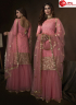 Pink Color Net Fabric Embroidered Sequence Work Designer Party Wear Garara Suit