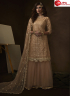 Beige Color Net Fabric Embroidered Sequence Work Designer Party Wear Garara Suit