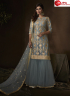 Grey Color Net Fabric Embroidered Sequence Work Designer Party Wear Garara Suit