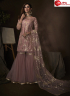 Lavender Color Net Fabric Embroidered Sequence Work Designer Party Wear Garara Suit