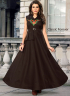 Brown Color Art Silk Fabric Resham Embroidered Work Designer Readymade Gown