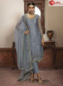 Grey Color Georgette Fabric Embroidered Resham Work Designer Party Straight Suit