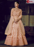 Peach Color Net Fabric Embroidered Resham Work Designer Party Anarkali Suit