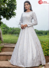 White Color Cotton Fabric Print Work Designer Party Gown