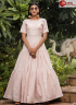 Pink Color Cotton Fabric Print Work Designer Party Gown