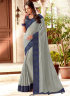 Grey Color Art Silk Fabric Embroidered Patch Border Designer Party Wear Saree