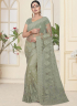 Green Color Net Fabric Resham,Embroidered Work Designer Party Wear Saree