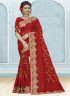 Red Color Georgette Fabric Resham,Embroidered Work Designer Party Wear Saree