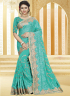 Turquoise Color Georgette Fabric Resham,Embroidered Work Designer Party Wear Saree