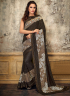 Brown Color Lycra Fabric Embroidered Fancy Work Designer Party Wear Saree