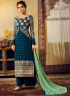 Teal Color Georgette Fabric Resham Embroidered Work Designer Palazzo Suit