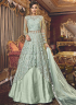 Turquoise Color Net Fabric Resham Embroidered Work Designer Indo Western Suit