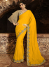 Yellow Color Silk Fabric Resham Embroidered Work Designer Party Wear Saree