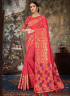 Pink Color Linen Silk Fabric Weaving Embroidered Work Designer Party Wear Saree