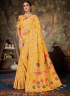 Yellow Color Linen Silk Fabric Weaving Embroidered Work Designer Party Wear Saree