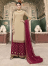 Beige Color Georgette Fabric Embroidered Resham Work Designer Palazzo Suit