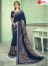 Blue Color Lycra Fabric Sequence Hand Patch Work Designer Party Wear Saree
