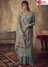 Grey Color Jacquard Silk Fabric Embroidered Resham Work Designer Party Wear Palazzo Suit