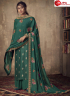 Green Color Jacquard Silk Fabric Embroidered Resham Work Designer Party Wear Palazzo Suit