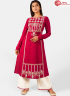 Pink Color Khadi Fabric Embroidered Work Designer Party Wear Kurti