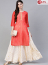 Cream With Red Color Crepe Fabric Printed Work Designer Party Wear Kurti