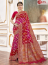Pink Red Color Viscose Fabric Self Weaving Work Designer Party Wear Saree