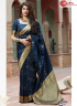 Blue Color Silk Fabric Weaving Work Designer Traditional Party Wear Saree