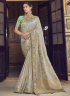 Grey Color Art Silk Fabric Weaving Embroidered Work Designer Traditional Party Wear Saree