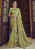 Green Color Art Silk Fabric Weaving Embroidered Work Designer Traditional Party Wear Saree