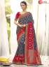 Blue With Red Color Jacquard Silk Designer Wedding Party Wear Saree