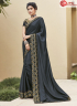 Grey Color Silk Fabric Embroidered Lace Work Designer Party Wear Saree
