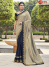 Beige With Blue Color Silk Fabric Embroidered Lace Work Designer Party Wear Saree