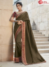 Brown Color Silk Fabric Embroidered Lace Work Designer Party Wear Saree