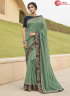 Green Color Silk Fabric Embroidered Lace Work Designer Party Wear Saree
